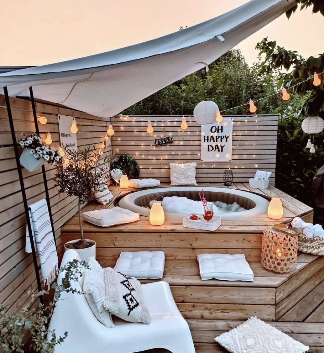 backyard patio with built in hot tub