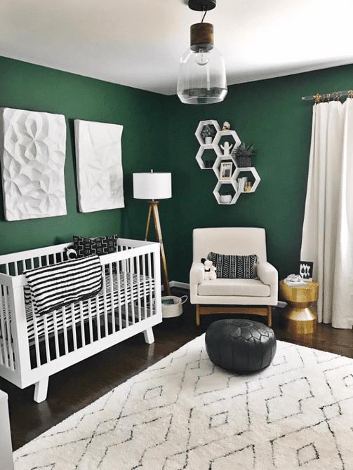 Vivero moderno, negro, blanco y verde