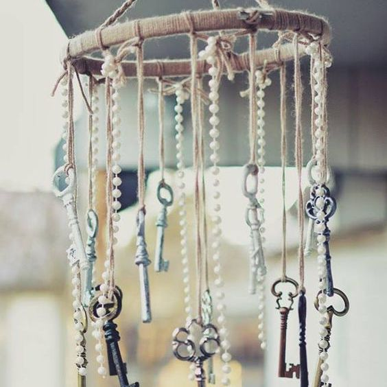DIY baby mobile made from antique bits and bobs