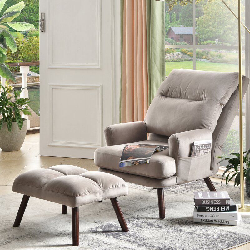"""Gusman 29.52"""" Wide Tufted Lounge Chair and Ottoman"""
