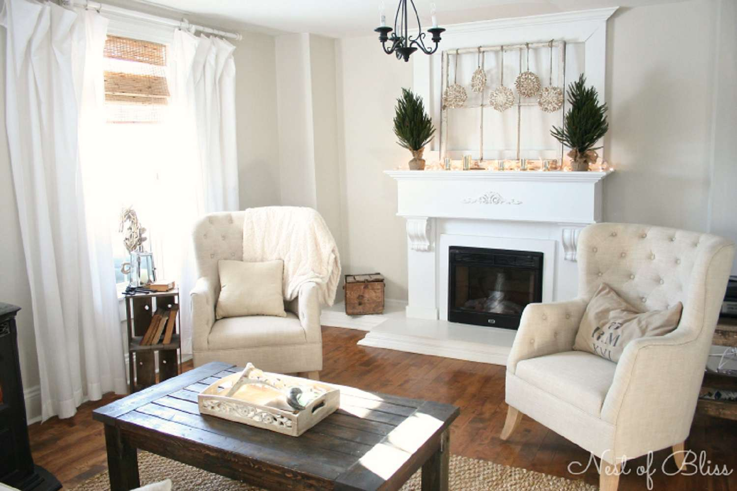 winter living room with small evergreen topiaries