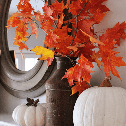 Fall leaf decor project for a mantle