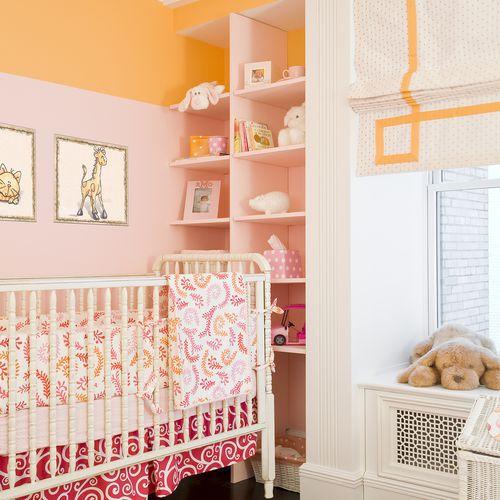 Vivero colorido, rosa y naranja con bloqueo de color
