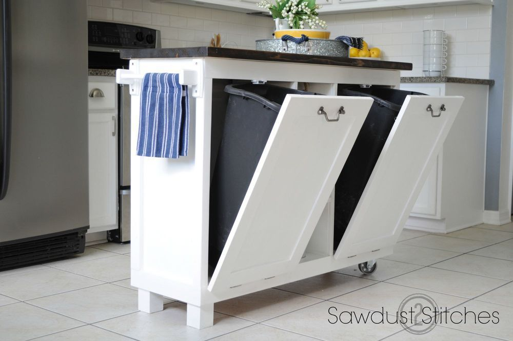 diy small kitchen island with trash cans