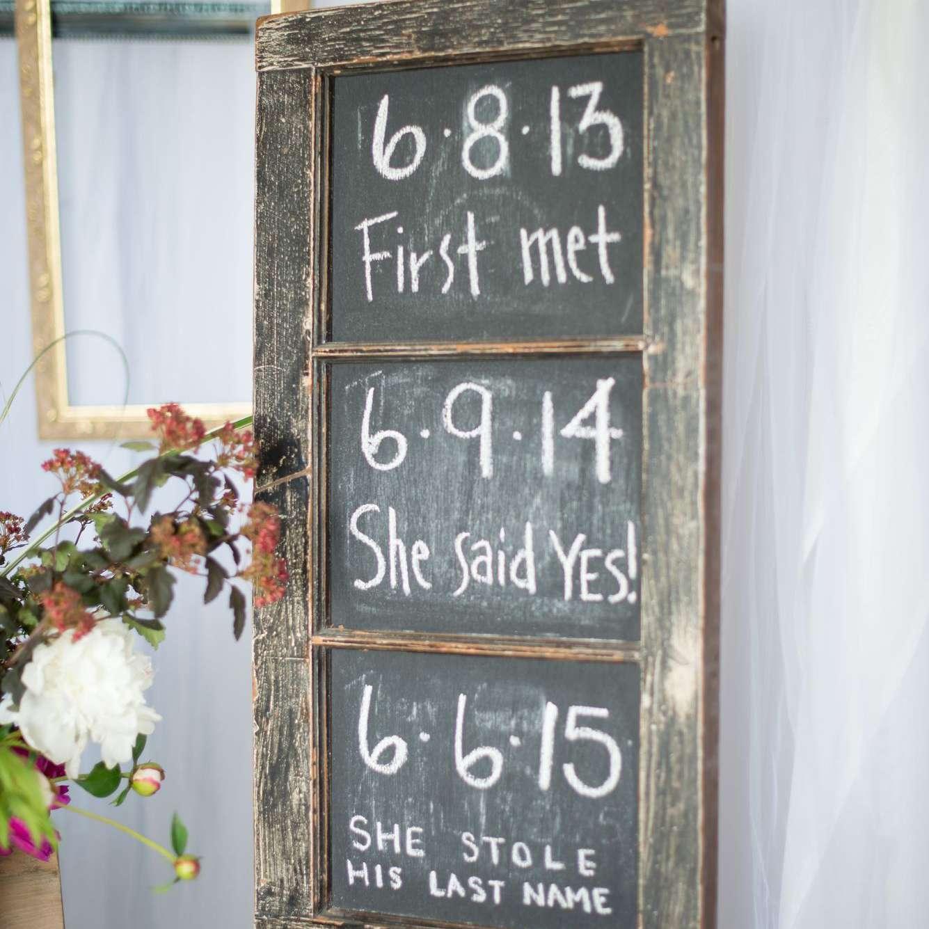 wedding sign made of chalk board