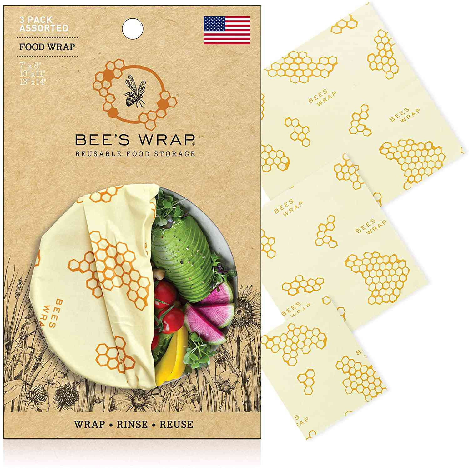 Bee's Wrap Eco Friendly Reusable Beeswax Food Wrap, Assortable Set of 3