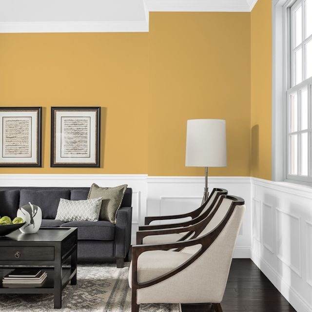 Butterscotch Bliss paint color on living room walls by PPG