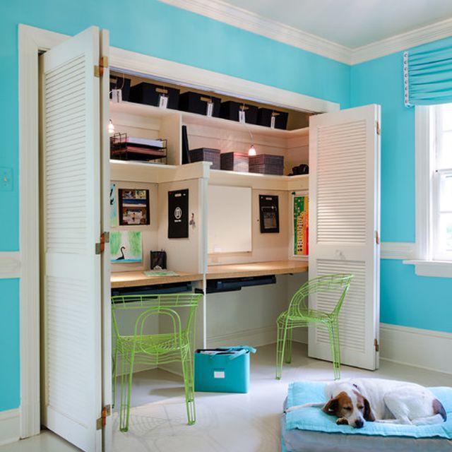 Closet homework station for two