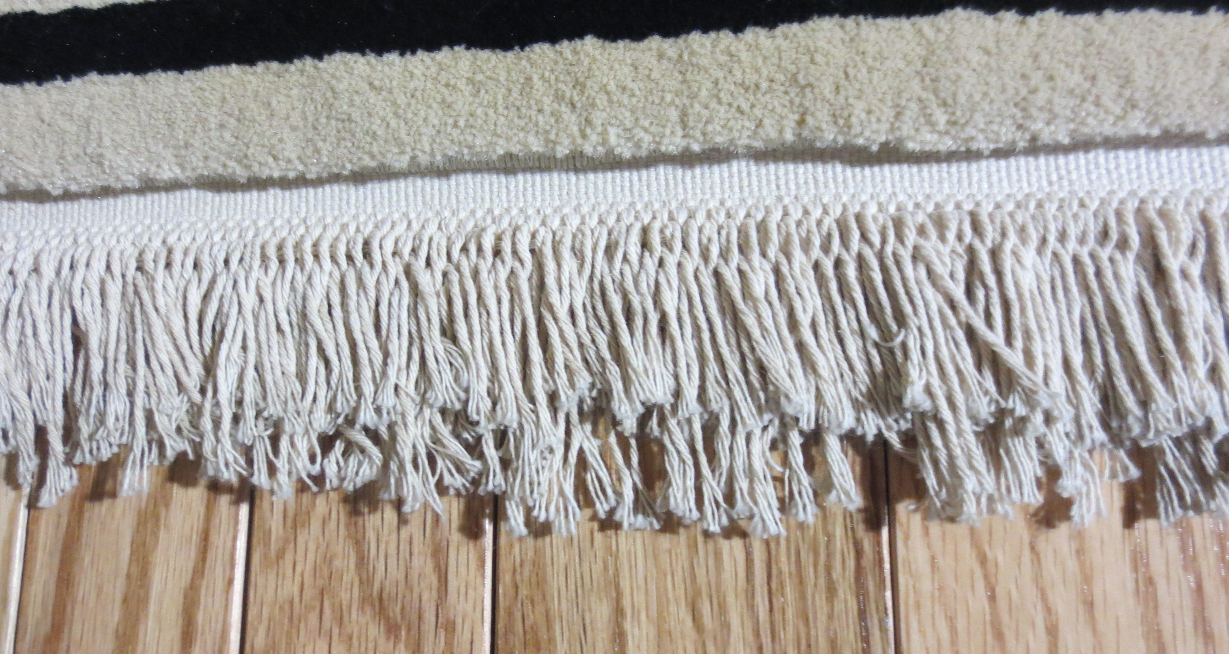 Fringing on an area rug