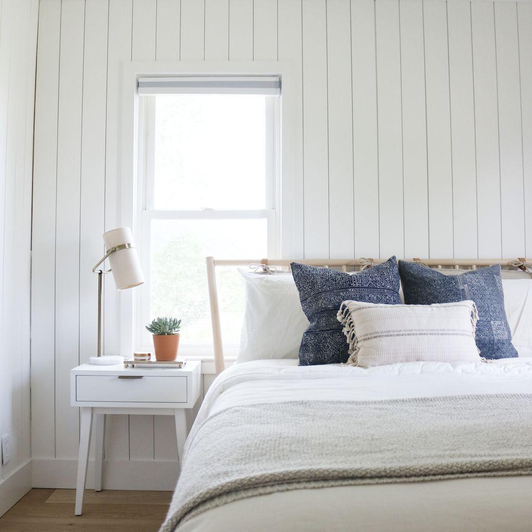 Bedroom with tan color scheme
