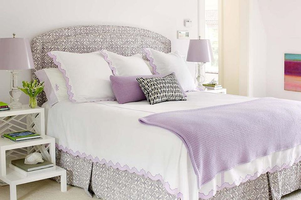 Lavender, gray and white bedroom