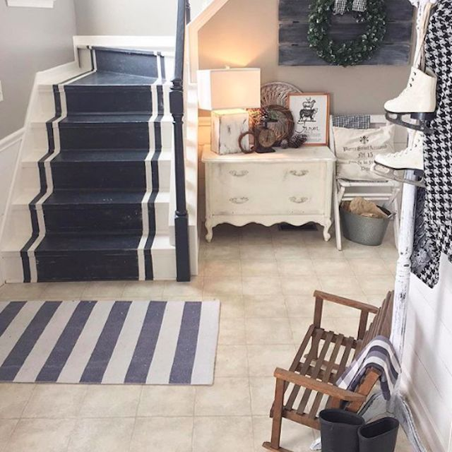 blue and white painted stairs
