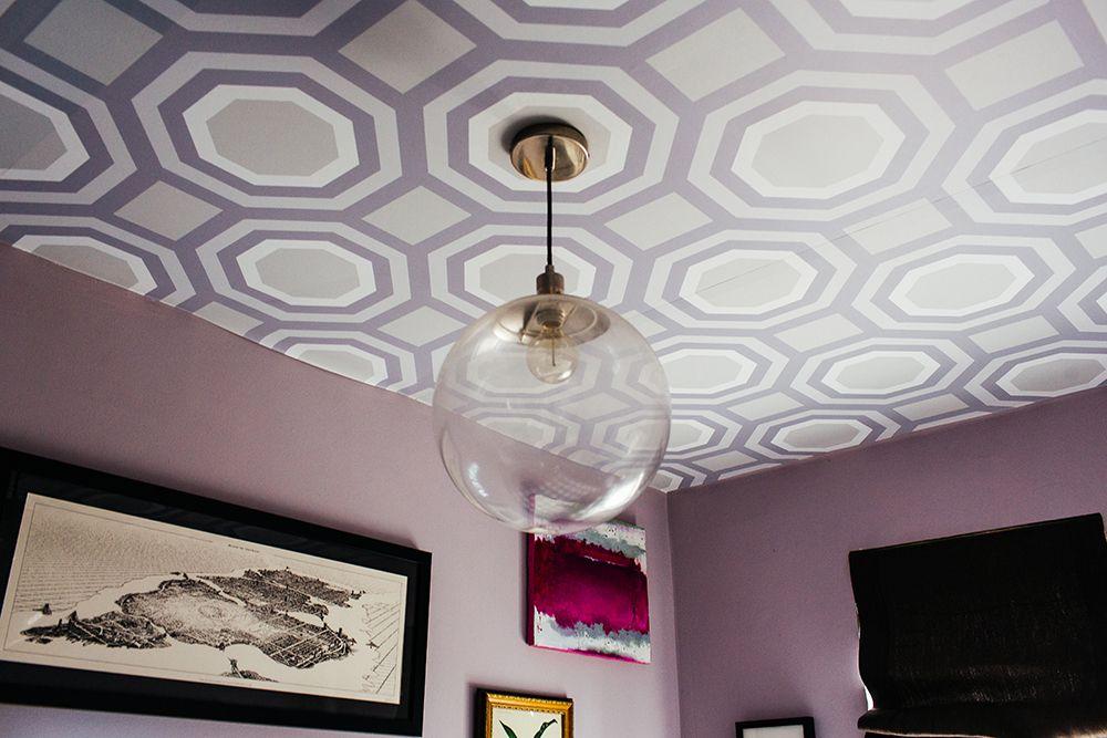 custom patterned wallpaper on the ceiling