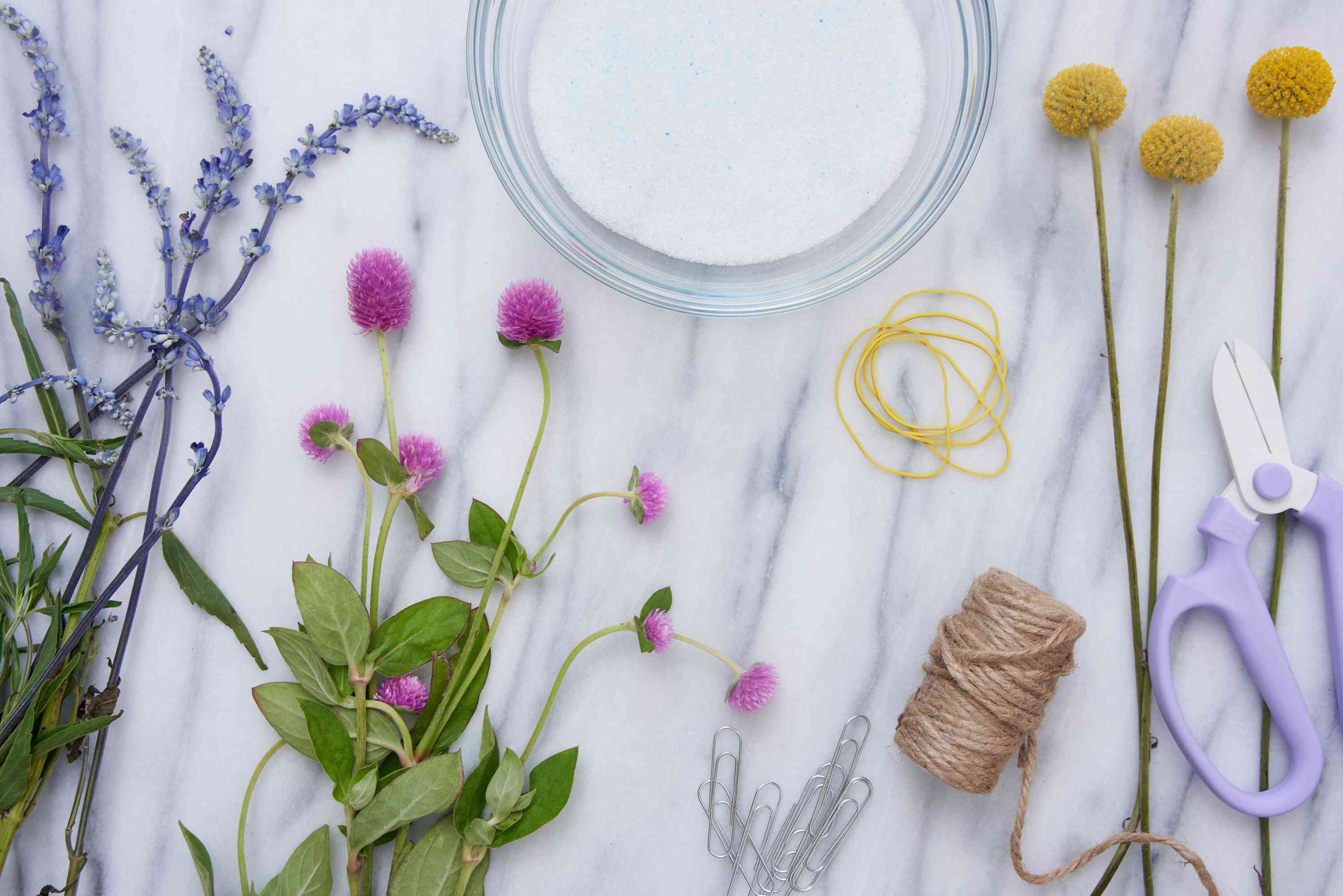 the materials for flower drying