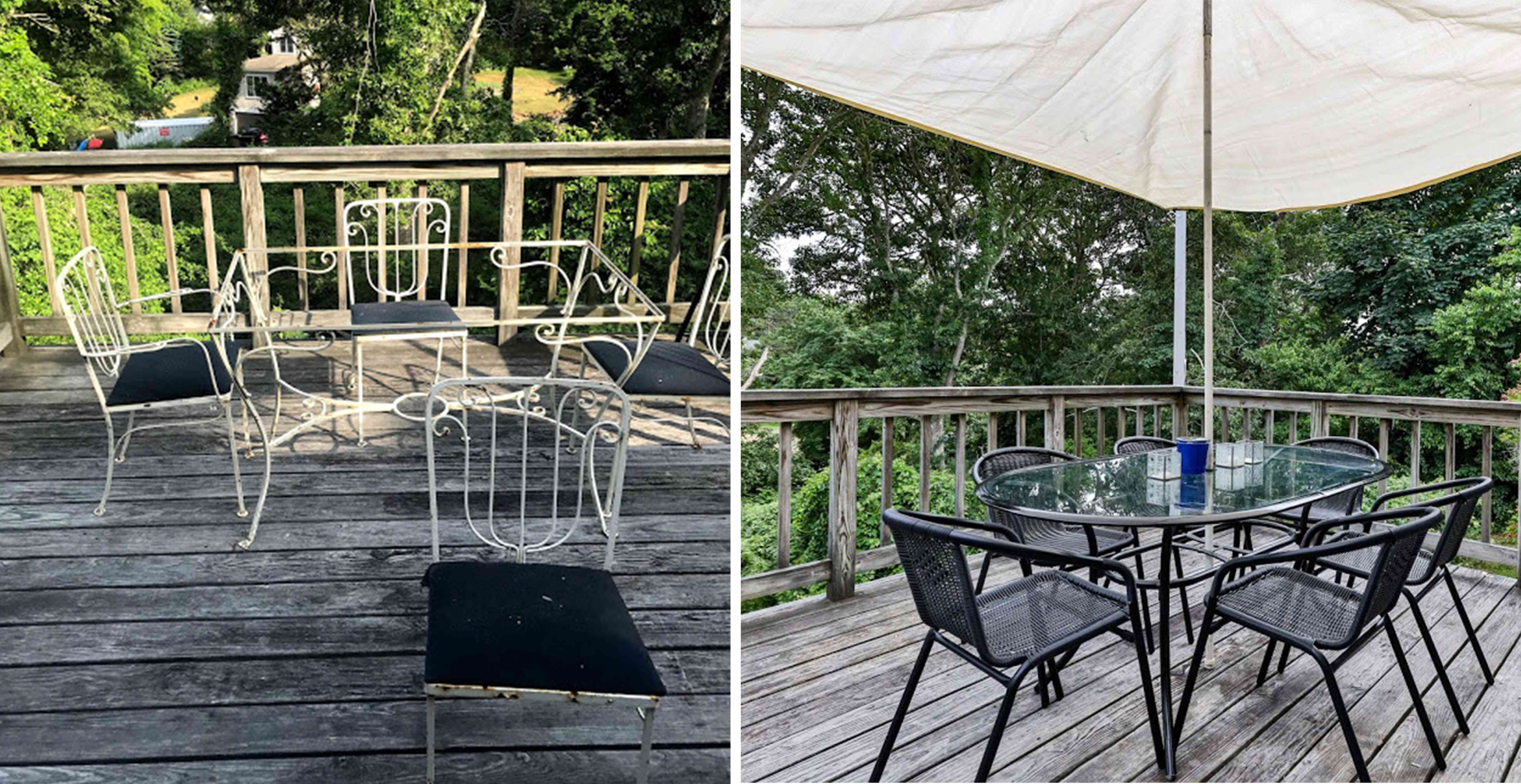 Cape Cod deck before and after renovation