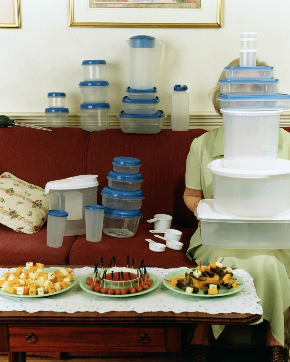 Woman hosting plastic ware party