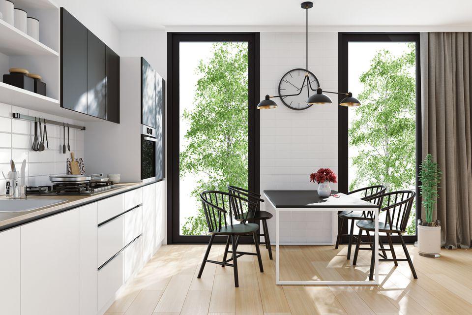 Moderna cocina escandinava y comedor