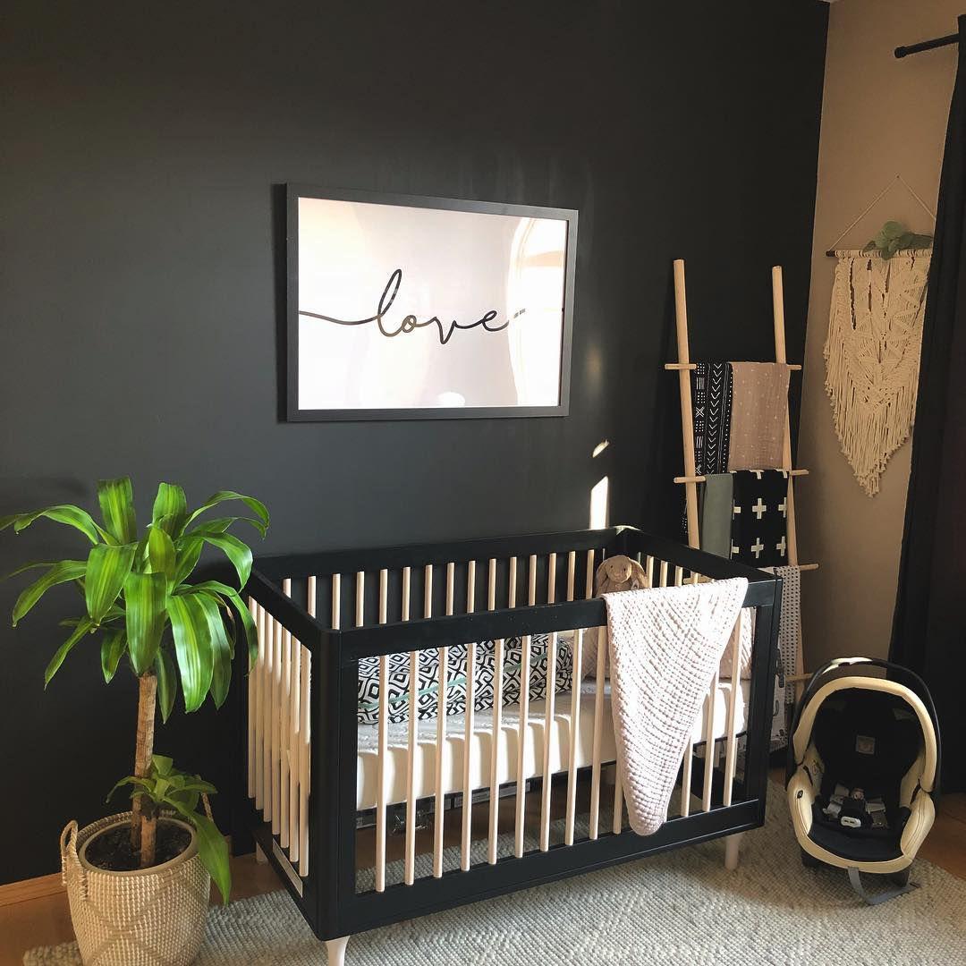Neutral nursery in black and beige