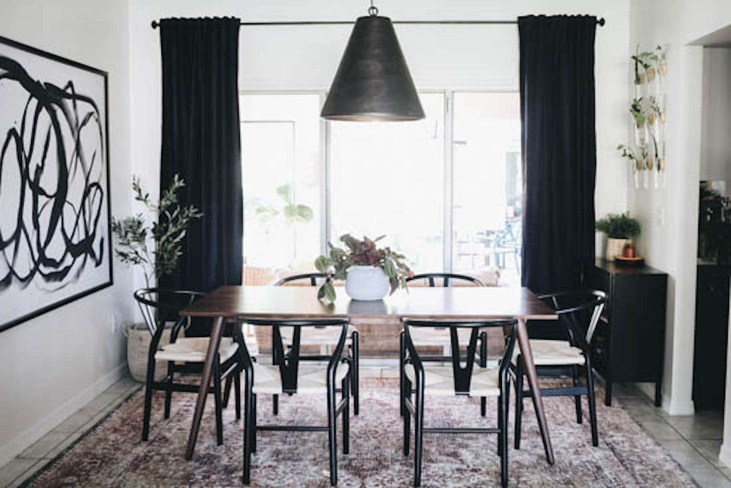 modern dining room with black and white touches