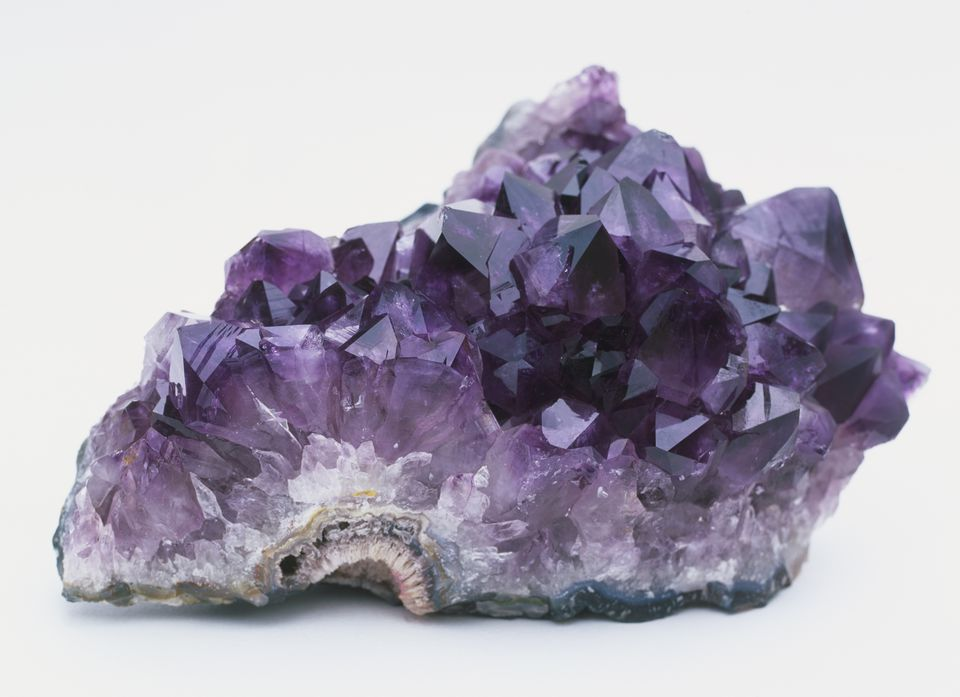Mass of pyramid-shaped amethyst crystals