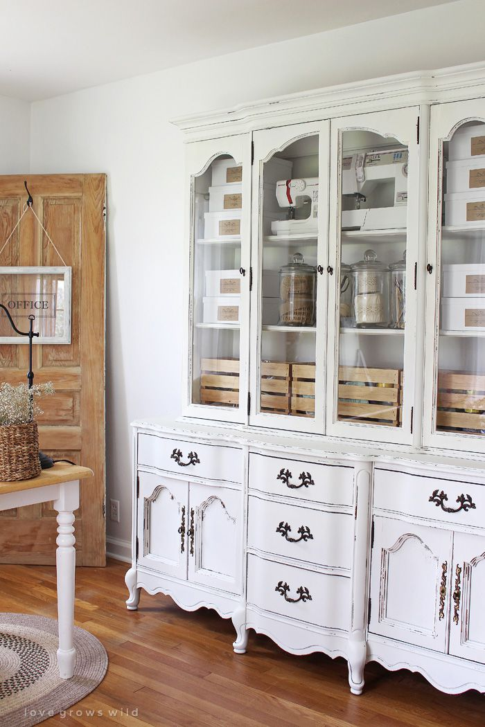 armoire with craft supplies
