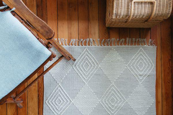 throw rug on a hardwood floor