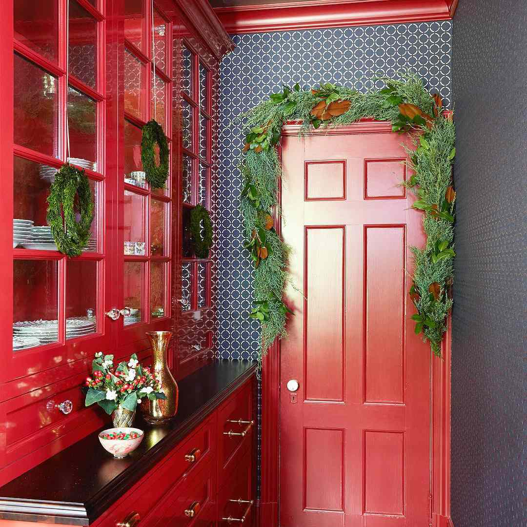 Butlers pantry with red cabinets