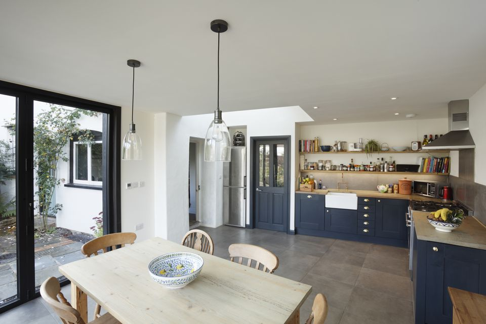 New kitchen and diner extension interior. Built onto the side of a listed historic building.