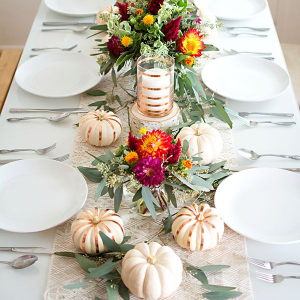 thanksgiving table copper pumpkins