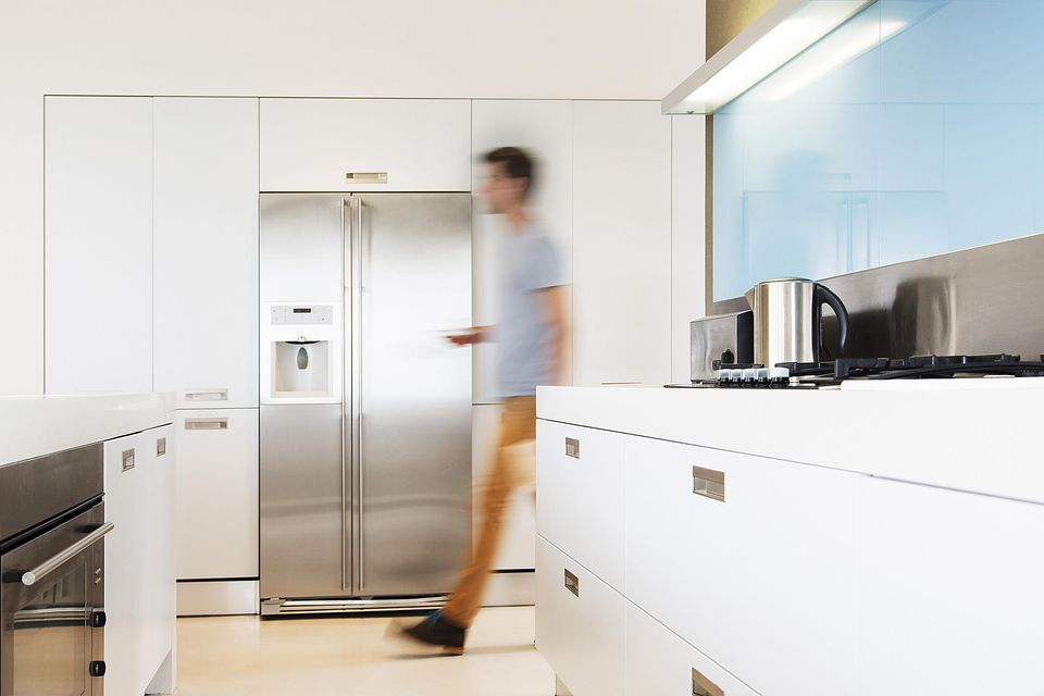Modern kitchen with counter depth refrigerator