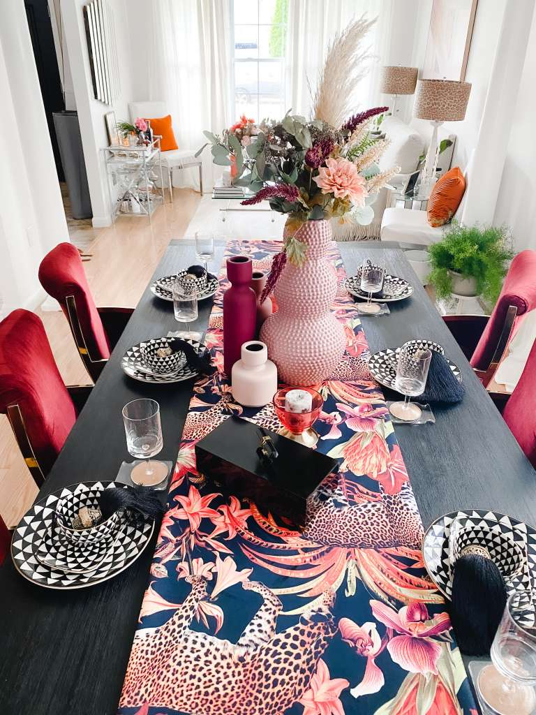 pink and black dining room