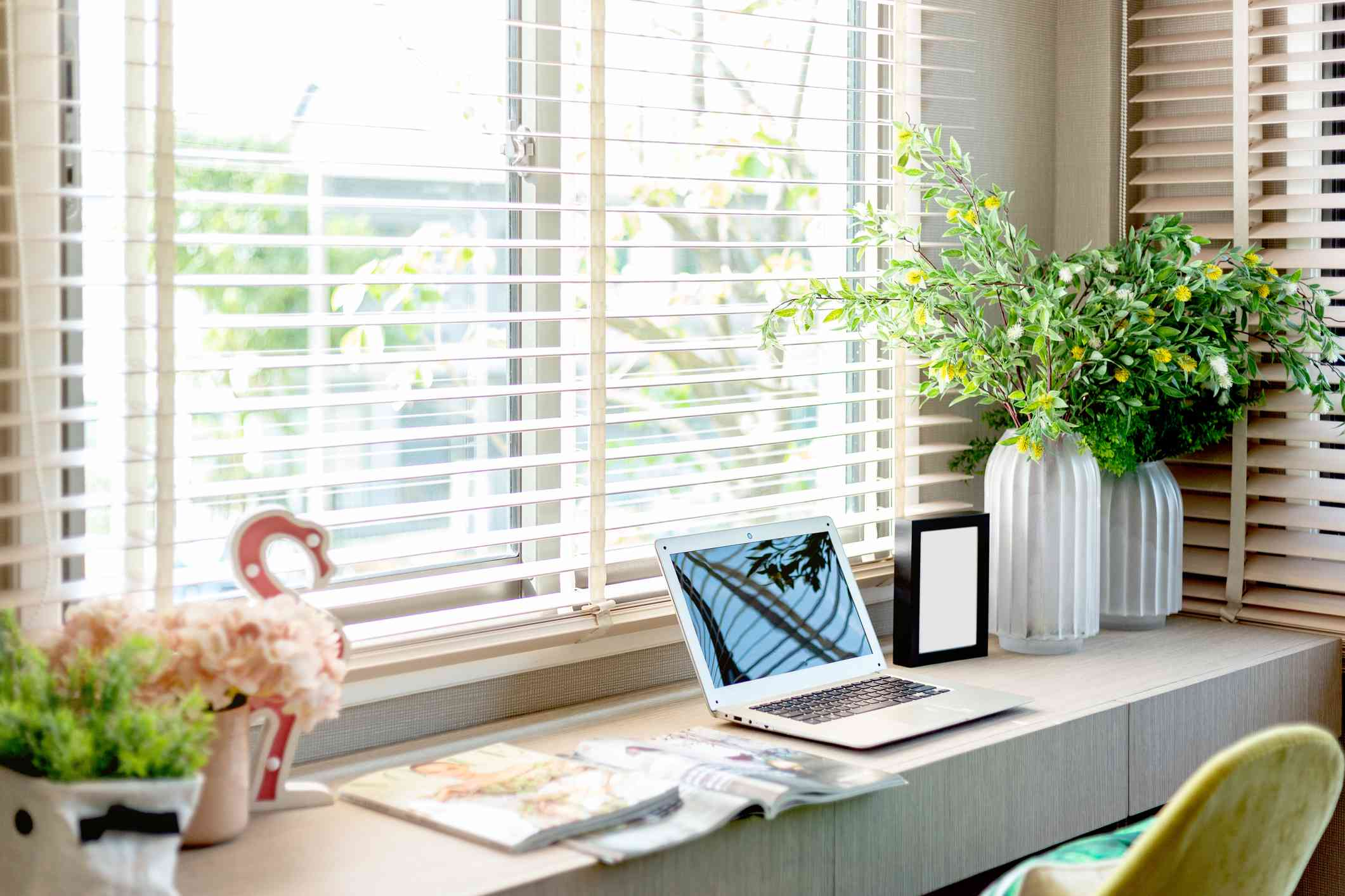 blinds in a home office