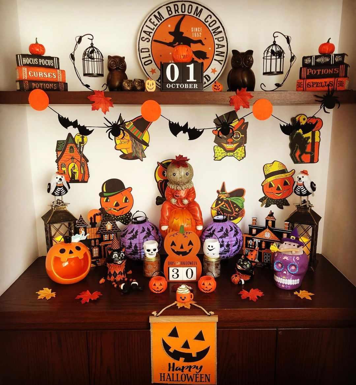 Retro Halloween decor.
