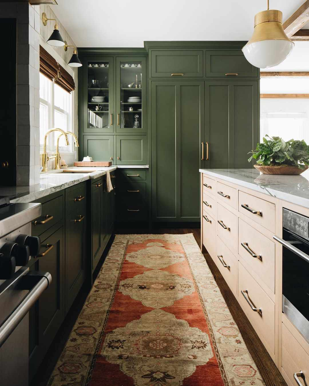 Oilve green cabinets with runner