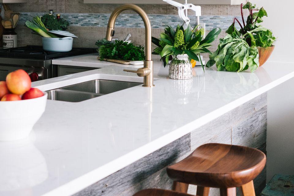 sparkling clean white countertop