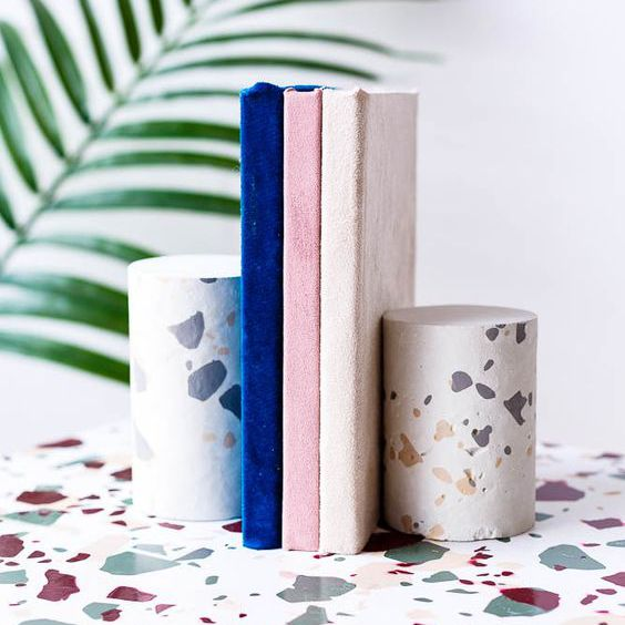 terrazzo tabletop and accessories