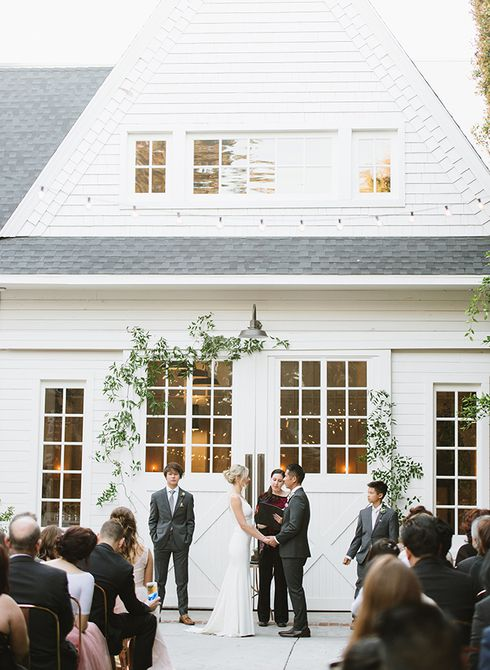 Wedding Ceremony in Front of a Barn