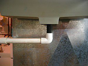 Humidifier drain leads to floor or sink drain