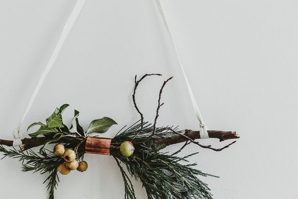 copper and twig hanging branch