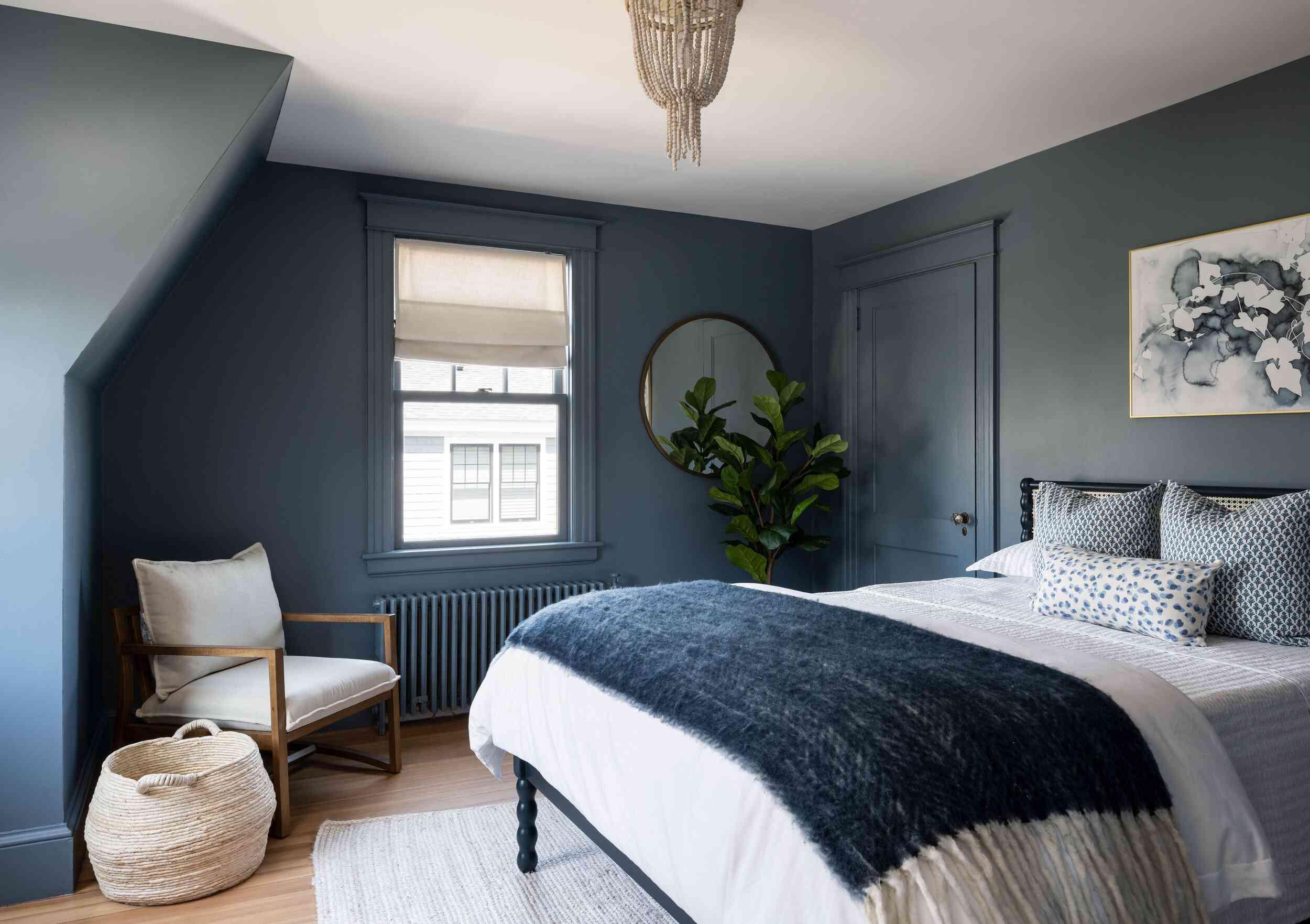 Muted blue bedroom interior