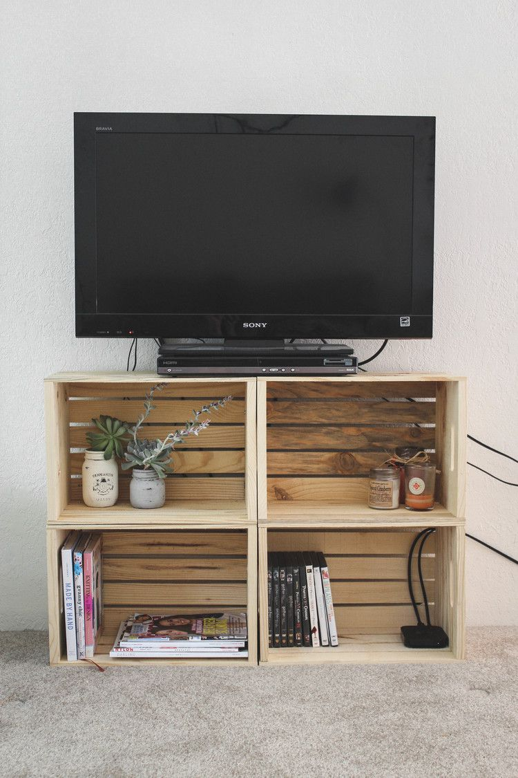 Make a wooden crate TV stand