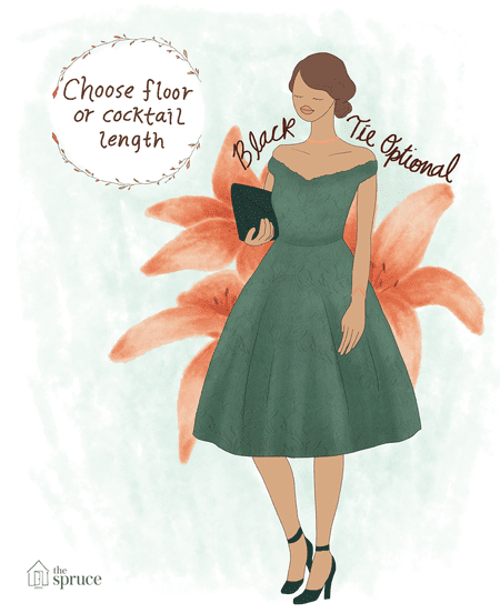 90b437877de Illustration of what to wear to a black tie optional fall wedding