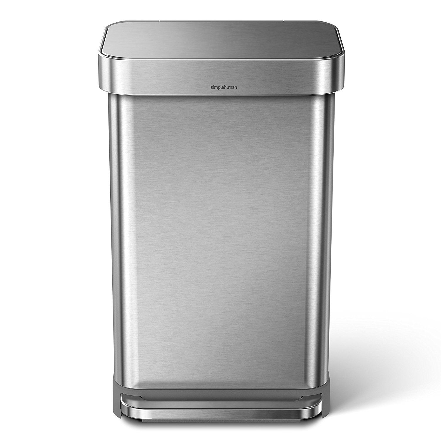 simplehuman 45 Liter/12 Gallon Stainless Steel Rectangular Kitchen Step Trash Can with Liner Pocket