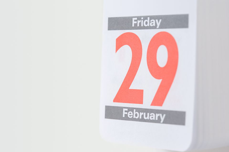 Twenty ninth february on a calendar
