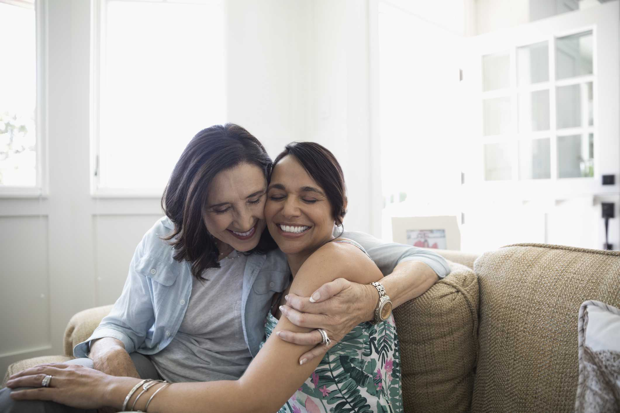 Two women hugging