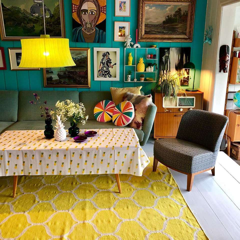 Living room with bold retro colors