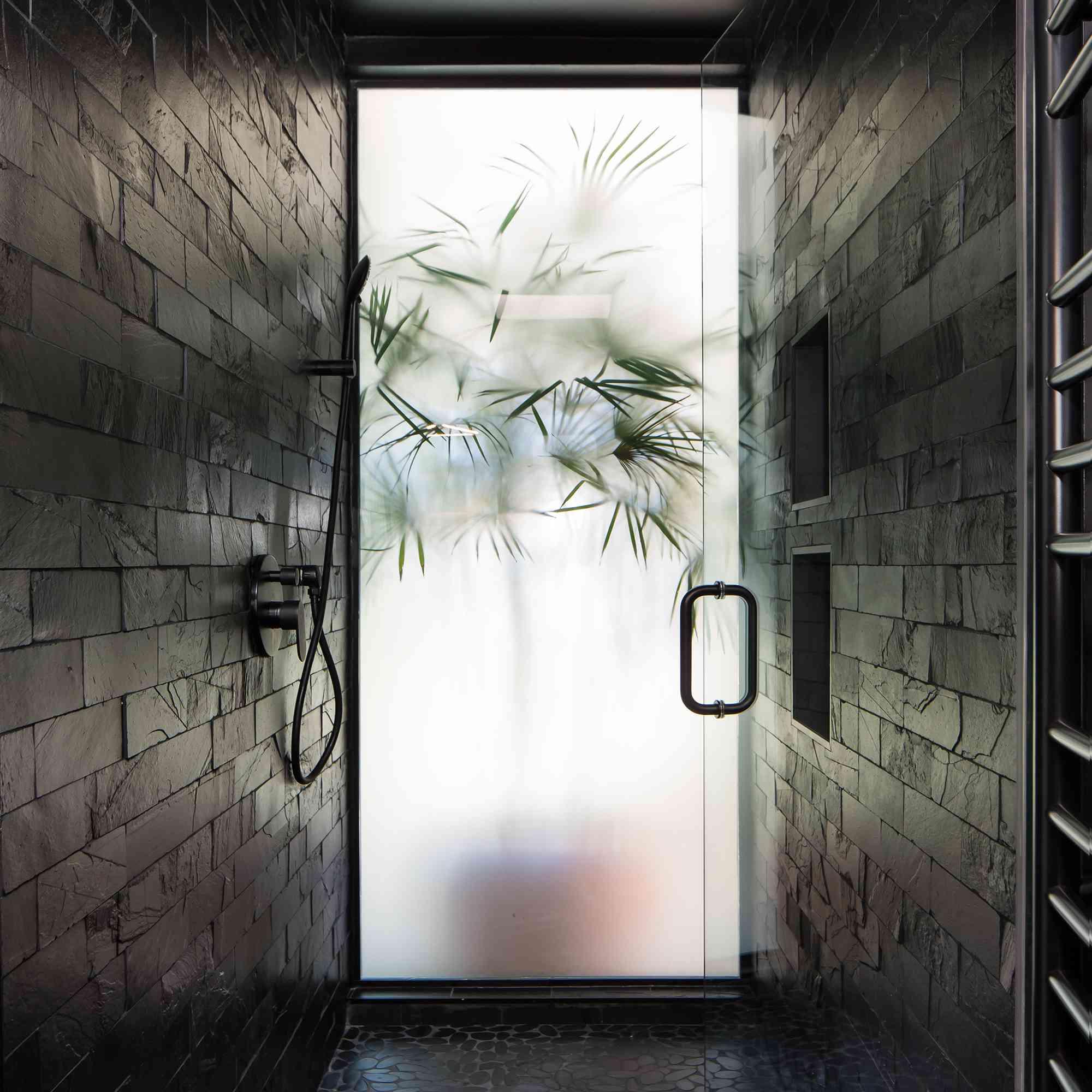 Black walk in shower space