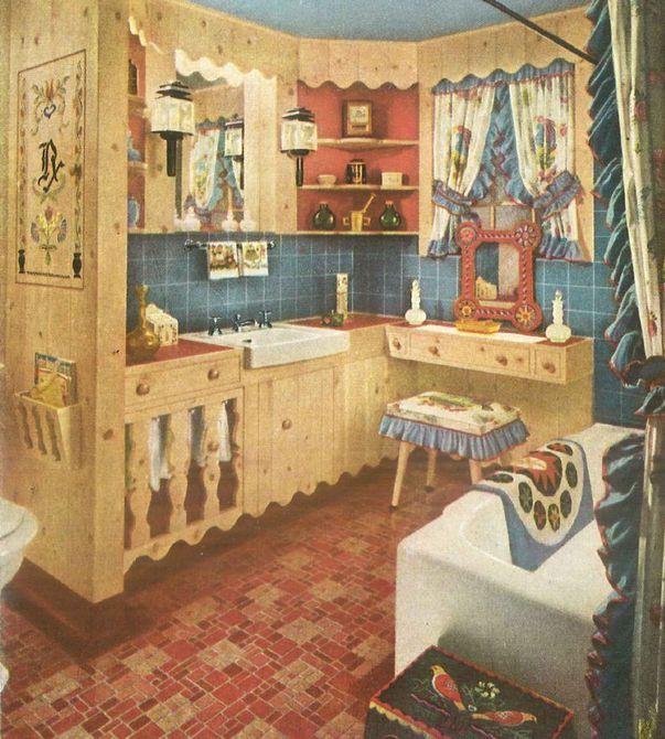 Estilo colonial de baño de 1940