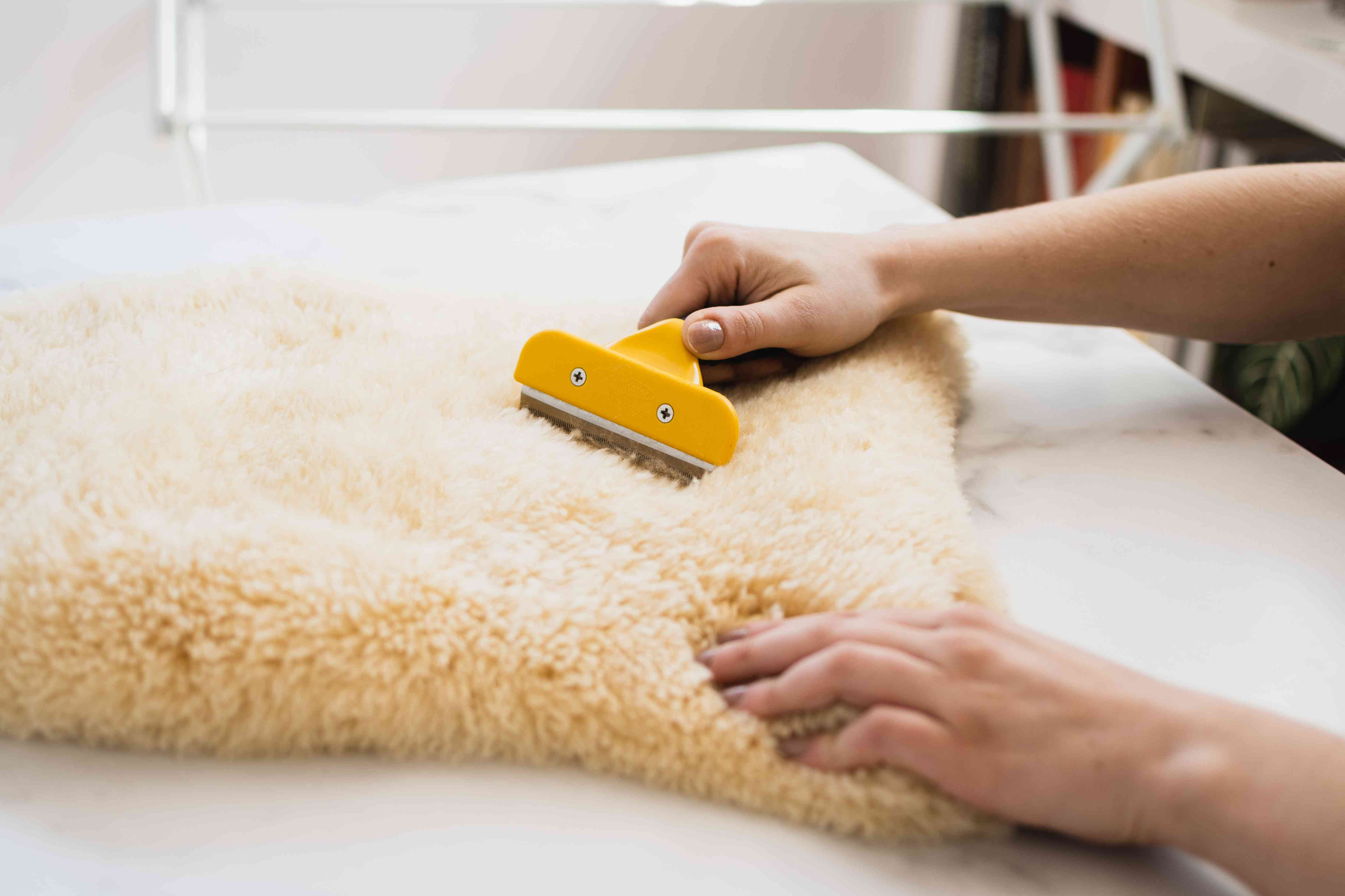 Sheepskin rug brushed with wire wool comb to restore fibers
