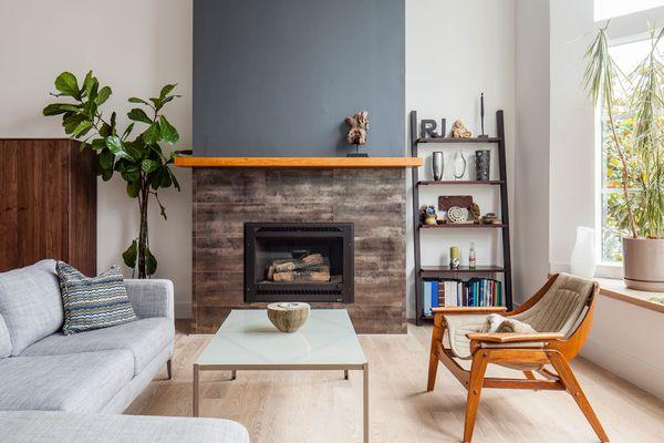 wood grain tile fireplace surround